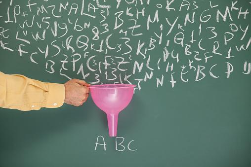 Human Hand「Funnel In Human Hand Searching Filtering Words Written On Blackboard」:スマホ壁紙(4)