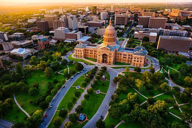 Capitol building, aerial skyline, sunset, Austin, TX,  Texas State Capital:スマホ壁紙(壁紙.com)
