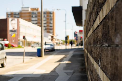Brick Wall「Street scene with focus on brick wall in Port Elizabeth, Eastern Cape, South Africa.」:スマホ壁紙(13)