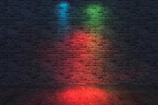 Neon Colored「Street scene, brick wall background, dark」:スマホ壁紙(11)