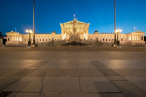Austria「Exterior of illuminated Austrian Parliament Building in Vienna against clear blue sky at night」:スマホ壁紙(15)