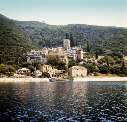 Mt Athos Monastic Republic「Ancient Dochiariou monastery at Mount Athos」:スマホ壁紙(3)