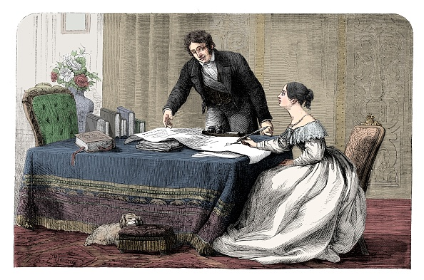 Writing「Lord Melbourne (1779-1848) Instructing A Young Queen Victoria 1819-1901)」:写真・画像(17)[壁紙.com]