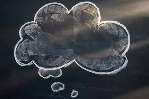 Contemplation「Chalk drawing of cloud on blackboard」:スマホ壁紙(17)