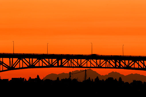 Seattle「Bridge at sunset in Seattle, Washington」:スマホ壁紙(9)