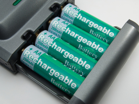 Rechargeable Battery「Rechargeable batteries and charger, close-up」:スマホ壁紙(13)