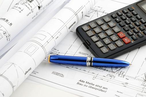 Engineer「blueprint plan of house building with calculator」:スマホ壁紙(11)