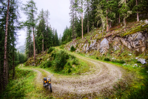 Motorcycle「Dirt Bike and Winding Road in the Alps」:スマホ壁紙(9)