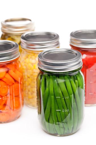 Green Bean「Home Canning Jars of Summer Harvest Vegetable Close-up on White」:スマホ壁紙(13)