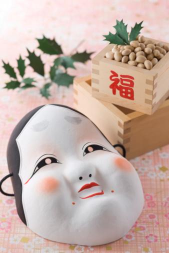 日本の祭り「Soybean and mask of plain woman」:スマホ壁紙(15)