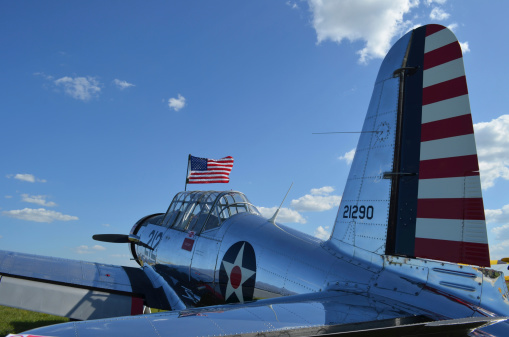 Airplane Tail「A BT-13 Valiant trainer aircraft with American Flag.」:スマホ壁紙(15)