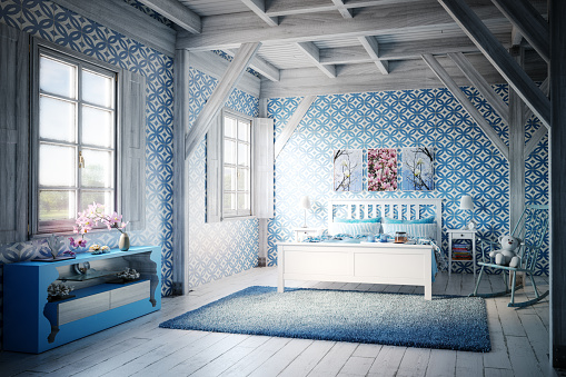 Rug「Cozy Blue Themed Bedroom」:スマホ壁紙(0)