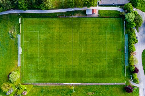 Track and Field Stadium「Germany, Baden-Wuerttemberg, Rems-Murr-Kreis, Aerial view of football ground」:スマホ壁紙(18)
