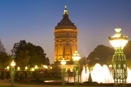 Mannheim「Germany, Baden-Württemberg, Mannheim, View of Wasserturm water tower at night」:スマホ壁紙(16)