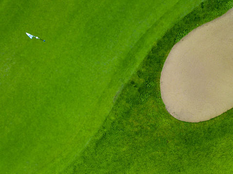 Sand Trap「Germany, Baden-Wuerttemberg, Aerial view of golf course with bunker, green, hole and golf flag」:スマホ壁紙(15)