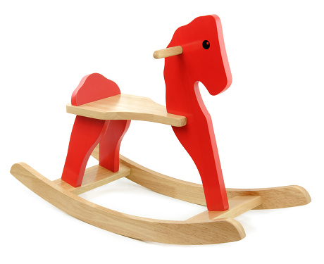 Horse「Child's red and tan wooden horse on white background」:スマホ壁紙(2)