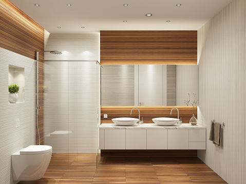 Sink「Modern contemporary interior bathroom with two sinks and large mirror」:スマホ壁紙(8)