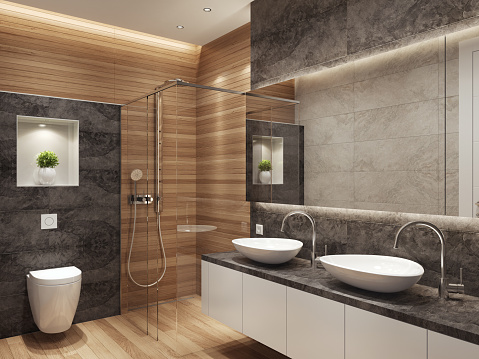 Villa「Modern contemporary interior bathroom with two sinks and large mirror」:スマホ壁紙(0)