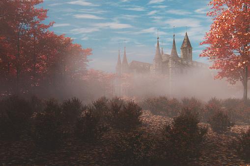 Fantasy「Fantasy old castle in the forest」:スマホ壁紙(8)