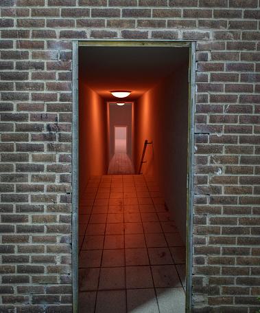 Basement「Ghostly orridor with red lights」:スマホ壁紙(11)