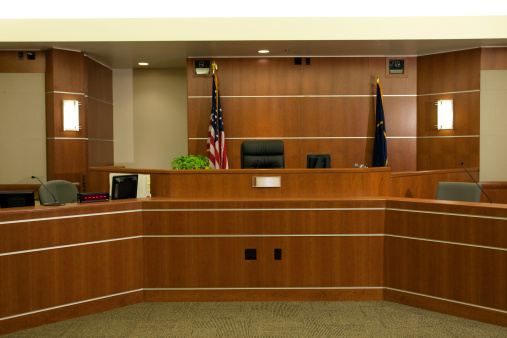 Government Building「View of Judicial Bench in Modern Courtroom Setting」:スマホ壁紙(11)