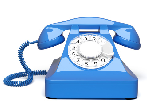 Old-fashioned「blue retro styled telephone front view」:スマホ壁紙(1)