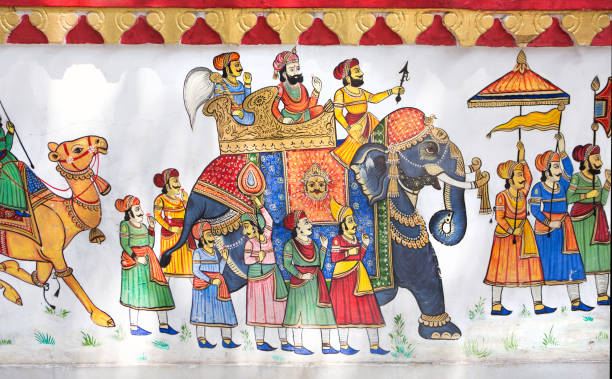 Colorful Rajahstani art depicting a traditional Indian procession, painted on a wall in the City Palace, Udaipur:スマホ壁紙(壁紙.com)