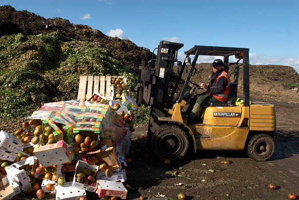 Food and Drink「Fork lift truck at site for recycling food and garden waste, Suffolk, UK」:写真・画像(2)[壁紙.com]