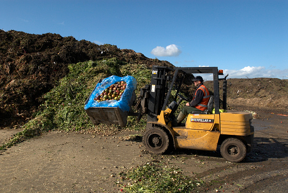 Recycling「Fork lift truck at site for recycling food and garden waste, Suffolk, UK」:写真・画像(3)[壁紙.com]