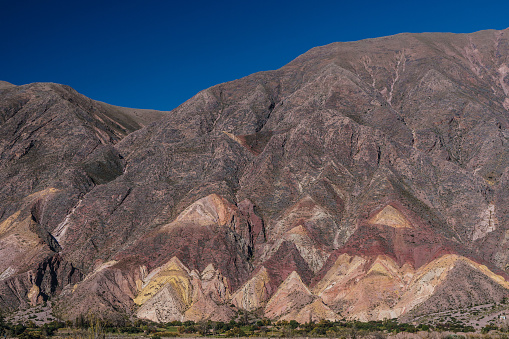 Vibrant Color「Brightly coloured mountains of Painted Valley against azure blue sky, Humahuaca Ravine, NW Argentina」:スマホ壁紙(1)