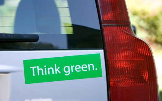 Western Script「Think green bumper sticker on car」:スマホ壁紙(16)
