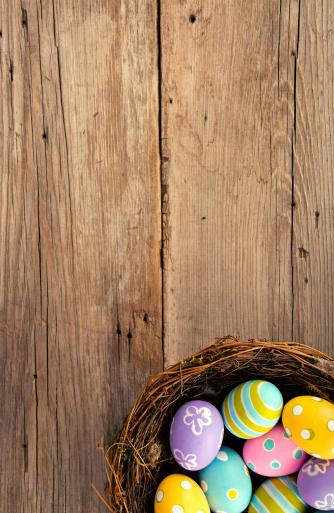 イースター「イースター卵の背景、鳥の巣」:スマホ壁紙(4)