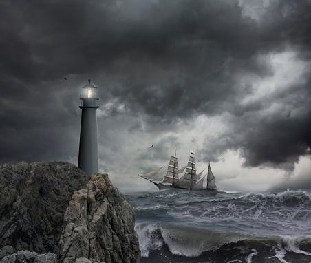 Effort「Ship sailing near lighthouse on stormy seas」:スマホ壁紙(19)