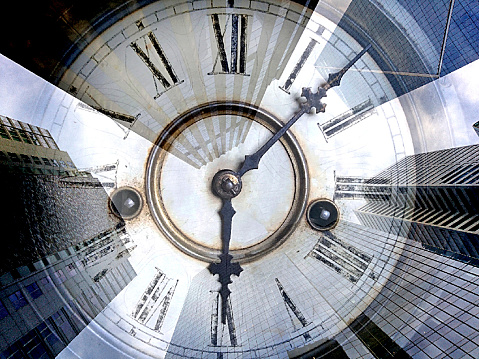 Number 11「Vintage antique grandfather clock face with Roman numeral numbers and hour and second hands looking upward toward converging office towers, building and sky scrapers.」:スマホ壁紙(15)