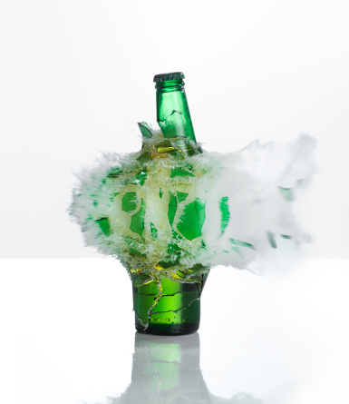 Bad Habit「A beer bottle exploding on  a white background」:スマホ壁紙(11)
