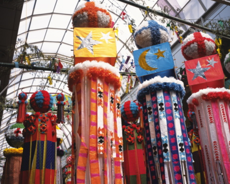 七夕「Ornaments for Tanabata festival, Sendai city, Miyagi prefecture, Japan」:スマホ壁紙(3)