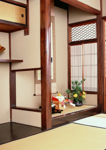 お正月「Alcove in traditional Japanese room」:スマホ壁紙(8)