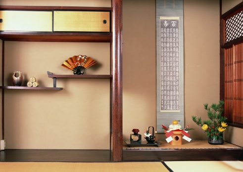 お正月「Alcove in traditional Japanese room」:スマホ壁紙(7)
