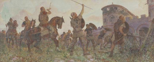 クレヨン「Arrival of the Saxons in London, c530 AD, (c1912). Artist: Amedee Forestier」:写真・画像(3)[壁紙.com]