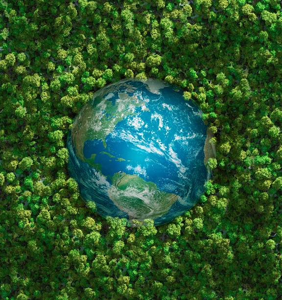 The earth embedded in green shrubbery:スマホ壁紙(壁紙.com)