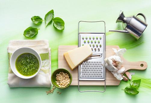 Pine Nut「Italian Food: Pesto Sauce Still Life」:スマホ壁紙(9)