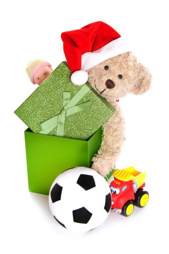 Doll「Playful Christmas Teddy Bear in Box with Toys」:スマホ壁紙(12)