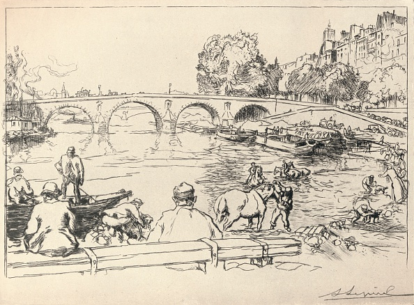 Water's Edge「'The Watering Place at the Pont Marie', 1915」:写真・画像(12)[壁紙.com]