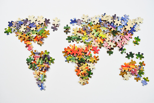 Interlocked「World map made from puzzle pieces」:スマホ壁紙(11)