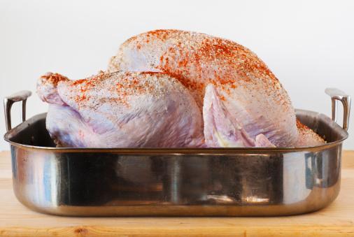 Raw Food「Raw turkey on roasting pan」:スマホ壁紙(3)
