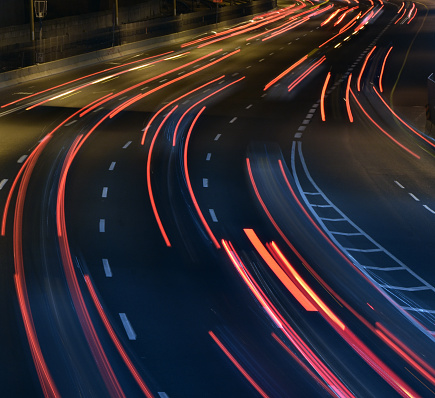 Dividing Line - Road Marking「A highway at night , long exposure」:スマホ壁紙(16)