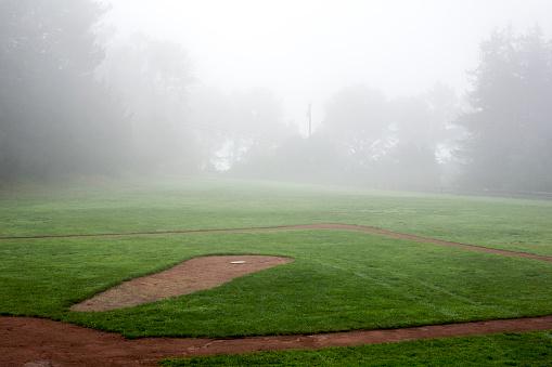 Fog「Fog over baseball field」:スマホ壁紙(1)