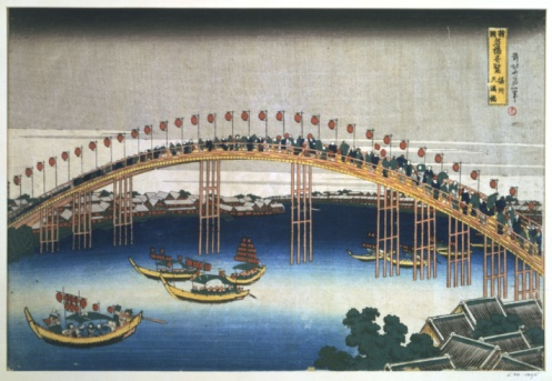 1990-1999「The Temma bridge at Osaka, Japan, 1830」:スマホ壁紙(9)