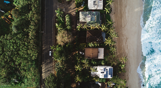 Oahu「Aerial vision, drone capture of the North Shore Oahu, Hawaii.」:スマホ壁紙(14)