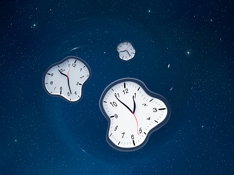 Continuity「Three distorted clocks of different times in the space」:スマホ壁紙(0)